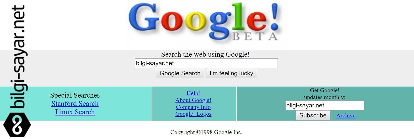 Google 1998 Yılında